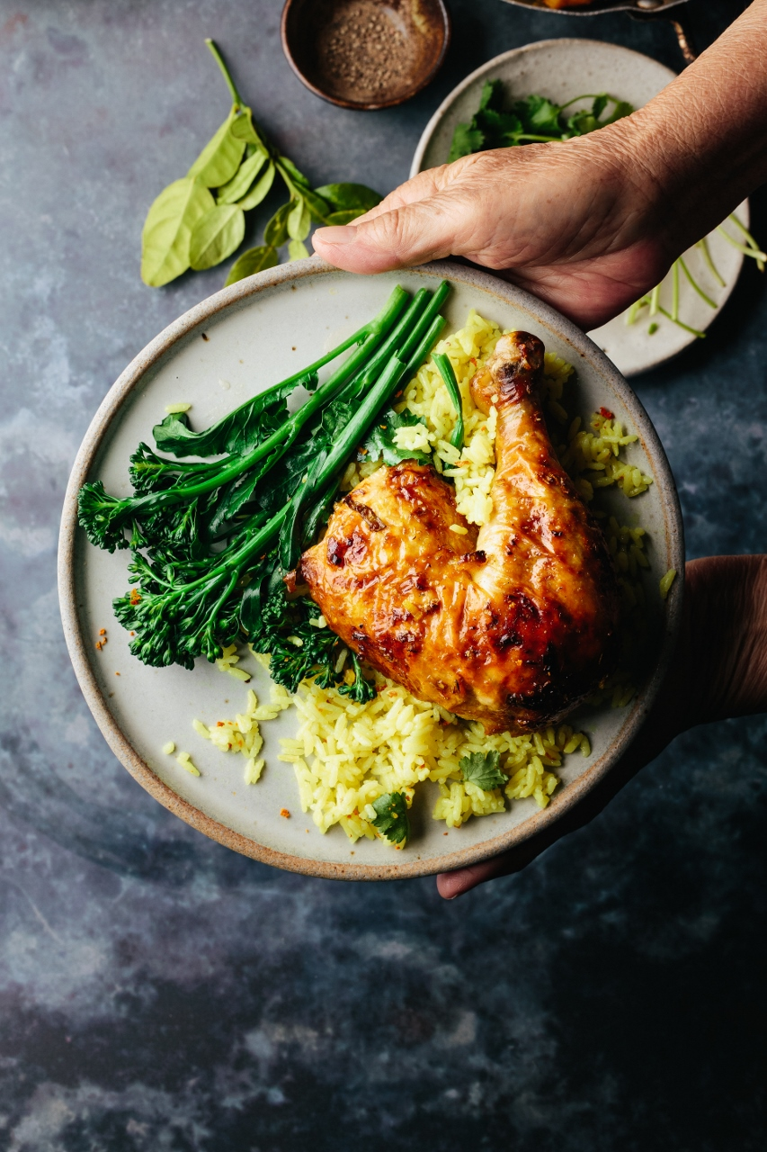 Roast Lemongrass Chicken With Turmeric Coconut Rice Beyond Sweet And Savory